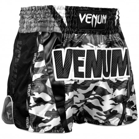 Full Cam Muay Thai Shorts - Forest Camo / Black