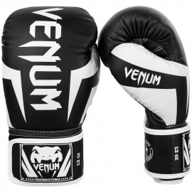 Elite Boxing Gloves - Black/White