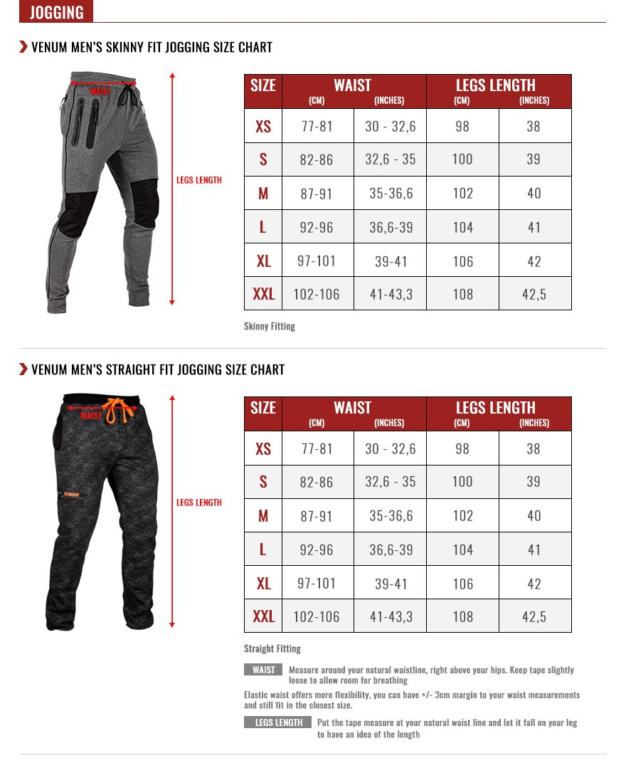 venum men joggings size chart