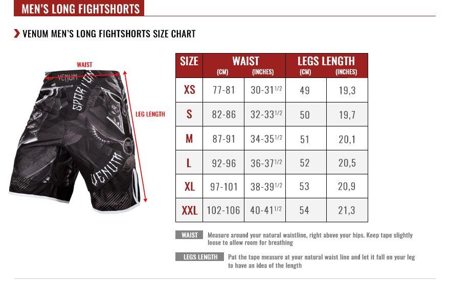 venum men long fightshorts size chart