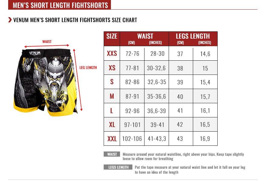venum men fightshorts size chart
