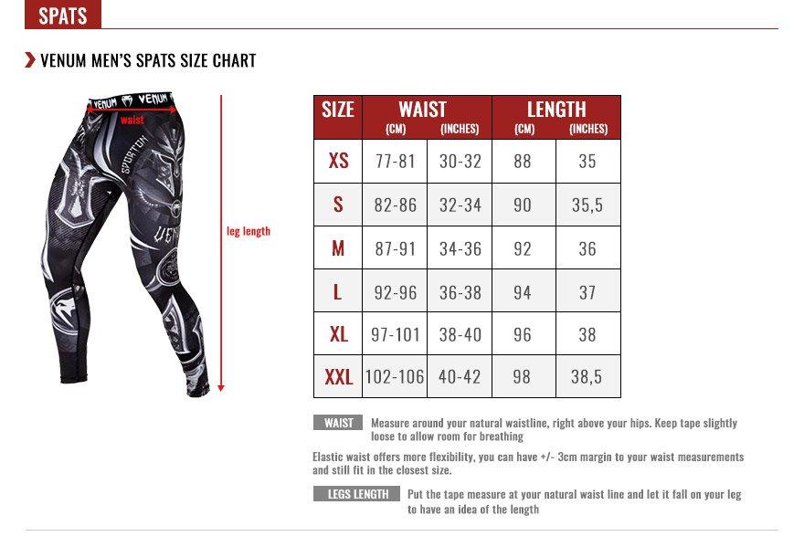 venum men spats size chart