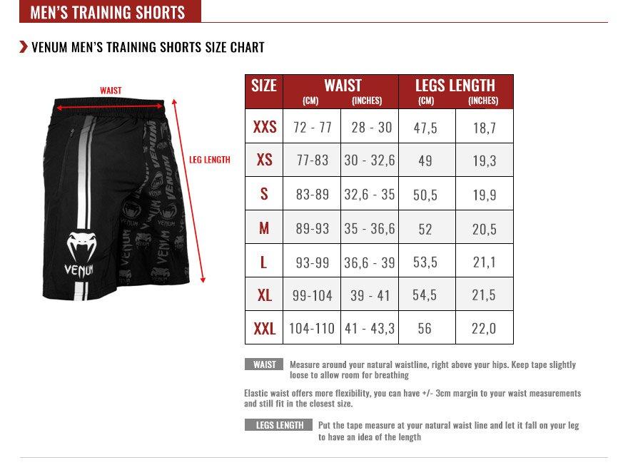 venum men raining shorts size chart