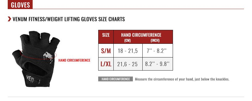 venum weight lifting gloves size chart